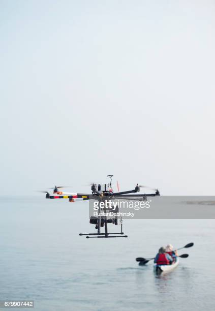 capturing kayak by remote controlled copter (drone). - remote controlled stock photos and pictures