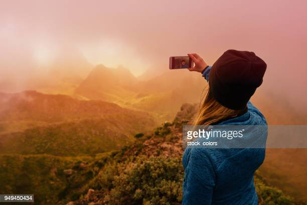 capturing selfie shot - atlantic islands stock pictures, royalty-free photos & images