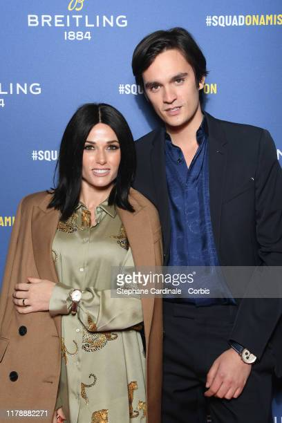 Capucine Anav and AlainFabien Delon attend the Breitling 1884 flagship reopening party at 10 rue de la Paix on October 03 2019 in Paris France