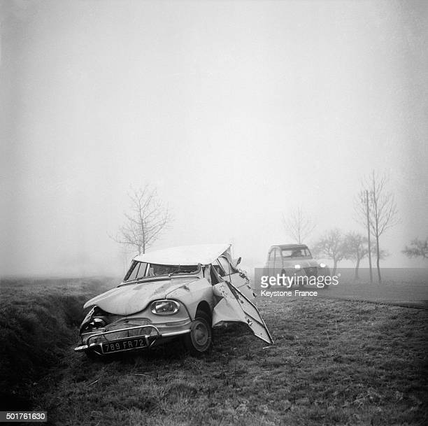 Car Accident Due To Black Ice In The Department Of EureEtLoir France on December 30 1963