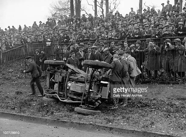 Car accident during Bank Holiday racing at Brooklands 6 April 1931 Car accident during Bank Holiday racing at Brooklands 6 April 1931 Photograph by...