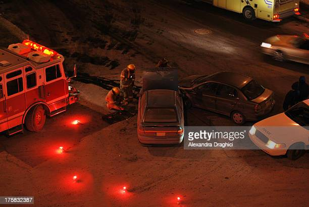 car accident scene at night - firetruck stock photos and pictures