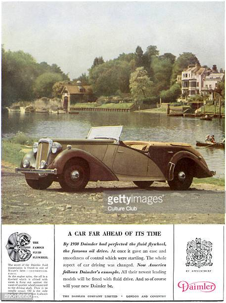 Car advertisment for The Daimler Company Open top car parked at a lakeside c1946 British motoring