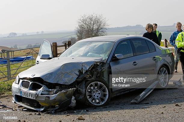BMW car after a crash Oxfordshire England United Kingdom