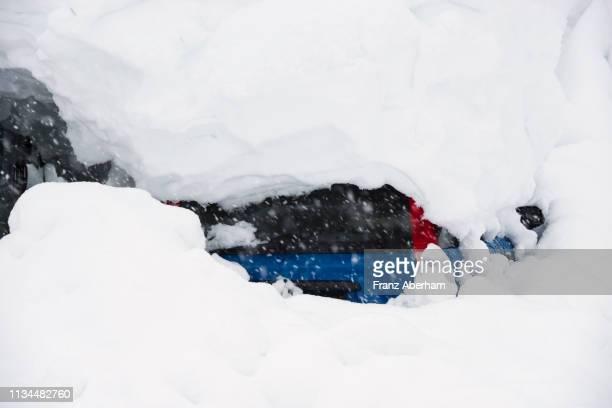 Car almost vanished under deep snow