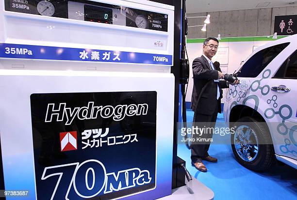FC car and its charger are on display during the 6th International Hydrogen Fuel Cell Expo at Tokyo Big Sight on March 3 2010 in Tokyo Japan Clean...