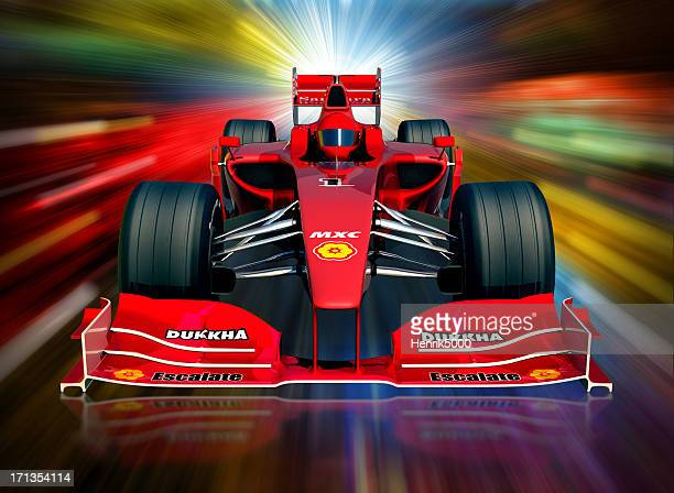 F1 car and neon lights, clipping path included