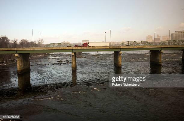 Car and truck traffic crosses a bridge over the Delaware River January 7 2015 in Trenton New Jersey Trenton with a 2010 population of nearly 90 is...