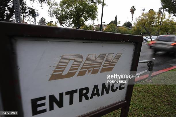 A car arrives at the State of California Department of Motor Vehicles in Los Angeles California on February 13 2009 The DMV already infamous for long...