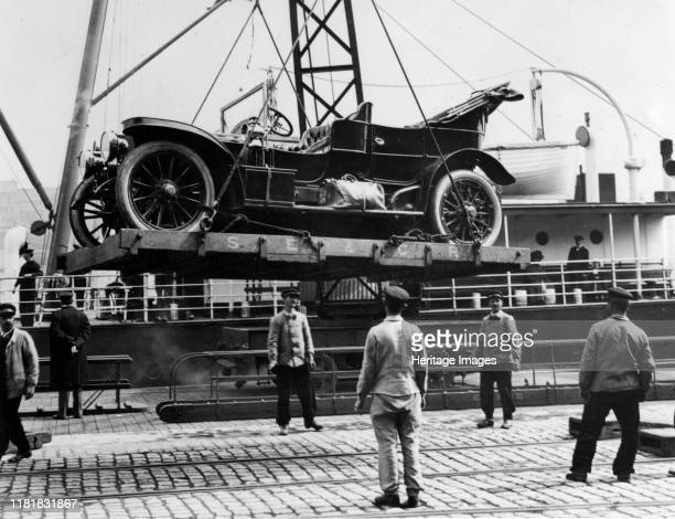 Car being loaded on to ship at Boulogne Creator Unknown
