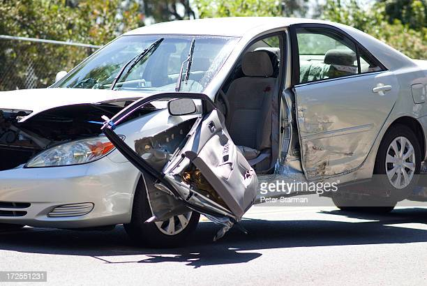 car being towed after accident. - bloody car accidents stock pictures, royalty-free photos & images