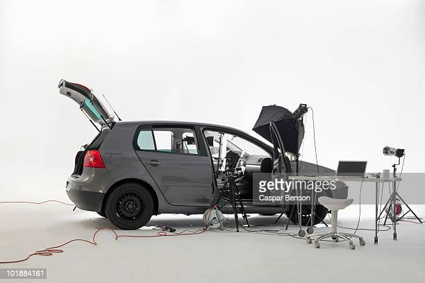A car being used in a photo shoot
