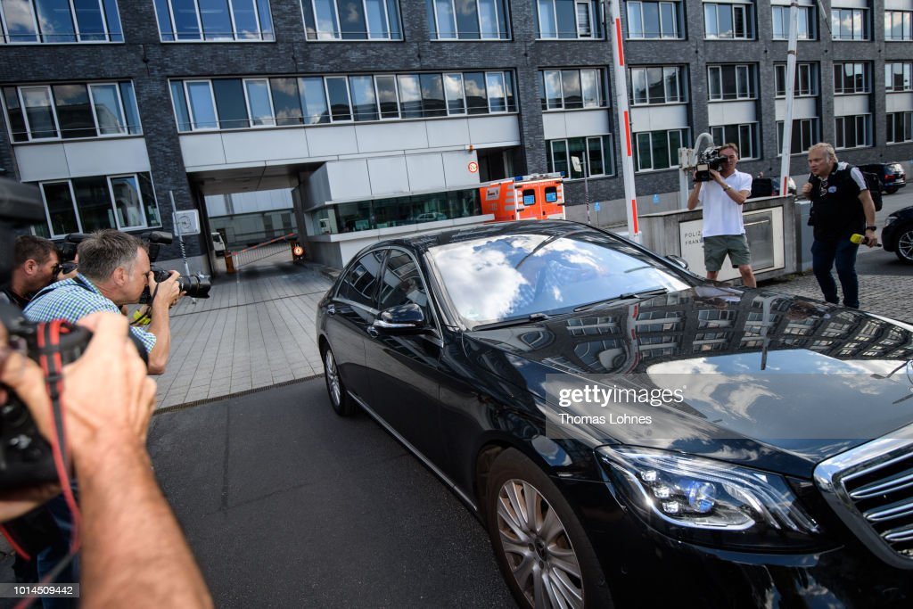 A car believed to be carrying former German cycling champion Jan Ullrich leaves a Frankfurt police station after authorities announced they had no reason to further detain Ullrich on charges of assault on August 10, 2018 in Frankfurt, Germany. Police had arrested Ullrich at a hotel where he was accused of assaulting a prostitute.