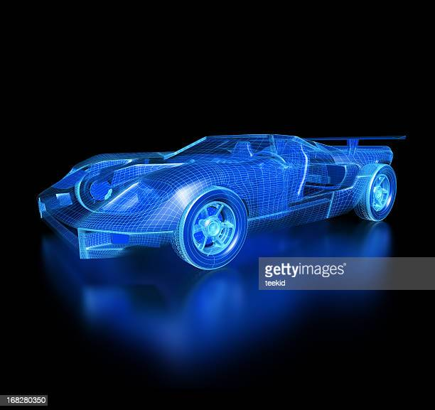 car blueprint-with clipping path - futuristic car stock pictures, royalty-free photos & images