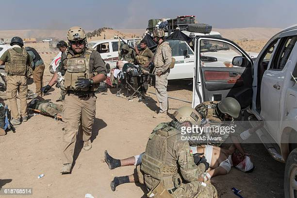 A car bomb has just exploded on the road to Bashika destroying several car on october 20 2016 in Mosul Iraq