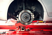 car brake part at garge, car brake disc without wheels closeup