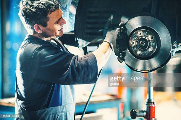 car braking system repair. - auto repair shop stock pictures, royalty-free photos & images
