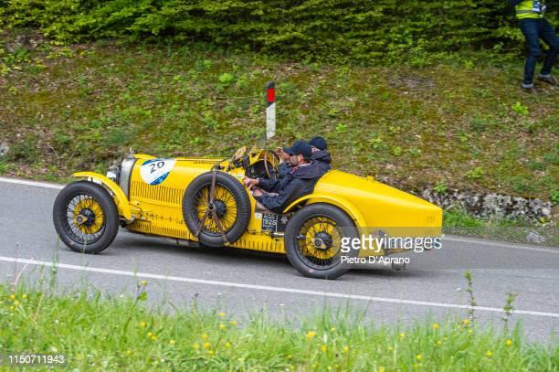 A car Bugatti Type 35 A passes through the Passo della Futa during the 1000 Miglia Historic Road Race on May 17 2019 in Firenze Italy The 1000 Miglia...