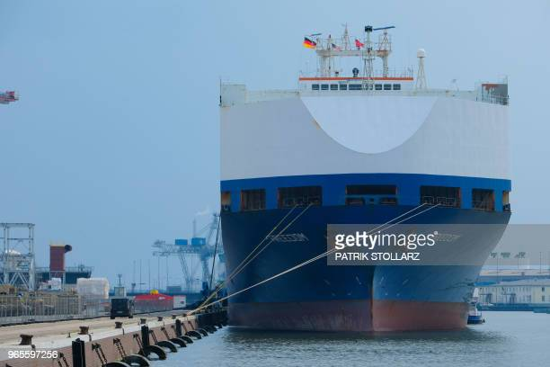 A car carrier waits at the harbour in Bremerhaven nothern Germany on June 1 2018
