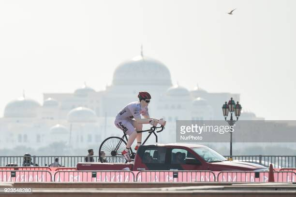 A car carries a promotional mannequin with White Intermediate Sprint Jersey near the finish line of the third Nation Towers Stage On Friday February...