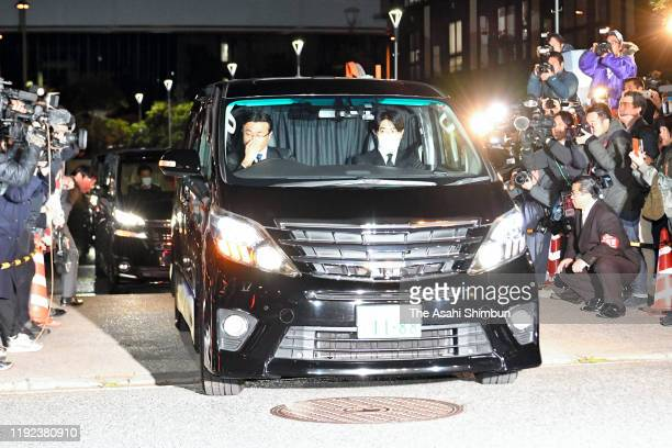 A car carrying actor Erika Sawajiri leaves the Wangan Police Station after released on bail on December 6 2019 in Tokyo Japan