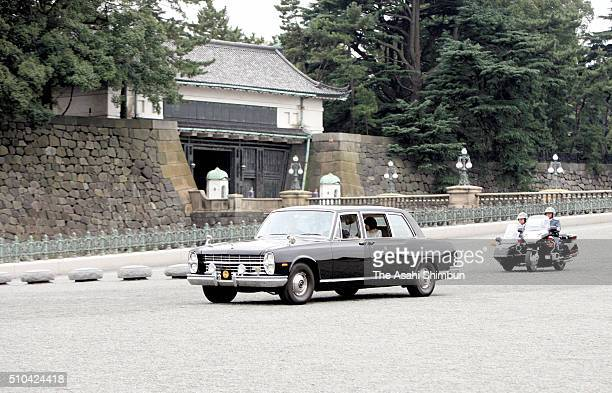 A car carrying Princess Sayako departs the Imperial Palace prior to her wedding ceremony at the Imperial Hotel on November 15 2005 in Tokyo Japan