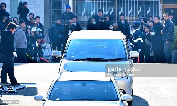 A car carrying Ryutaro Nonomura leaves the Kobe District Court on January 26 2016 in Kobe Hyogo Japan Ryutaro Nonomura a former prefectural assembly...
