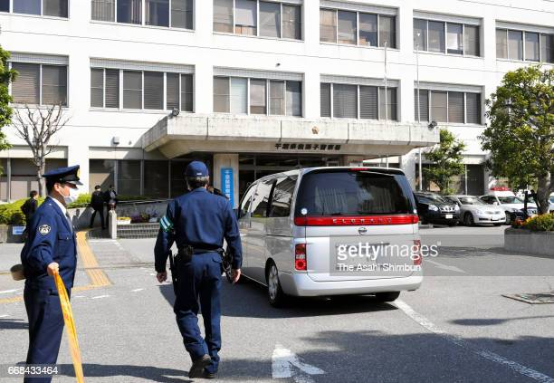 Car carrying suspect Yasumasa Shibuya arrives at Abiko Police Station after his arrest on April 14, 2017 in Abiko, Chiba, Japan. 9-year-old...