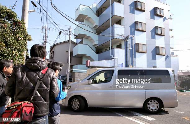 Car carrying suspect Yasumasa Shibuya leaves for Abiko Police Station after his arrest on April 14, 2017 in Matsudo Chiba, Japan. 9-year-old...