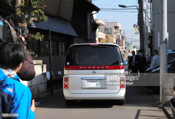 Car carrying suspect Yasumasa Shibuya leaves for Abiko Police Station after his arrest on April 14, 2017 in Matsudo, Chiba, Japan. 9-year-old...