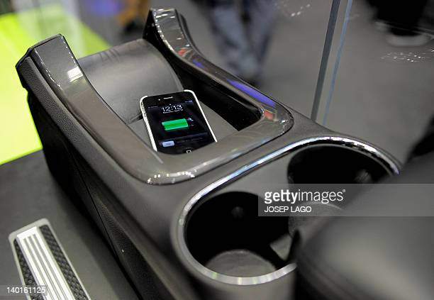 A car charger by Duracell and Powermatt is pictured at the Mobile World Congress in Barcelona on February 29 2012 The 2012 Mobile World Congress the...
