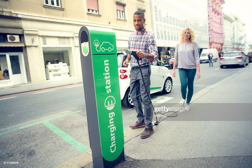 Car charging station : Stock Photo