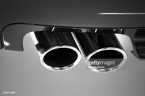 car chrome exhaust pipe close up
