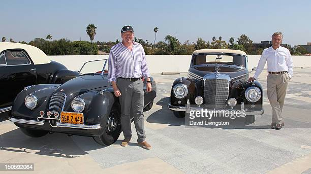 Car collector/Global Icons CEO Jeff Lotman with his 1949 Jaguar XK 120 and Bruce Meyer with his 1957 Mercedes Benz 300 Sc Cabriolet both cars once...
