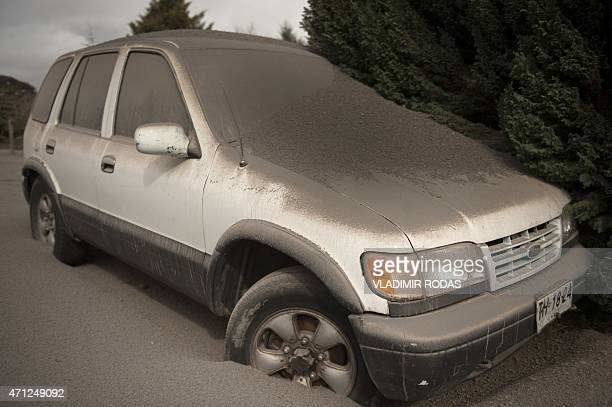 Car covered by ash from the Calbuco volcano at La Ensenada, southern Chile, on April 26, 2015. A sleeping giant for more than 50 years, Calbuco...