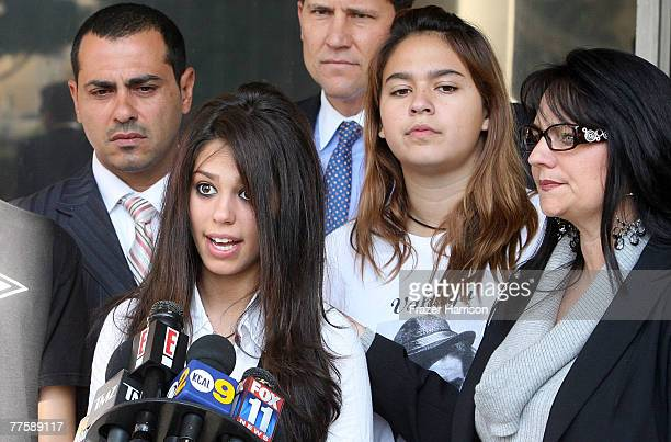 Car crash survivor Michelle Ohana speaks after the sentencing of actor Lane Garrison on manslaughter charges at the Beverly Hills Superior court...