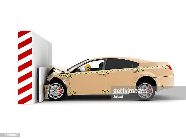 A car crash test running into wall