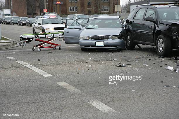 Car crash with a stretcher and a police car