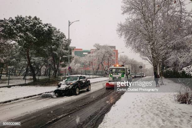 Car crashed due to snowstorm in the city center of Madrid, Spain