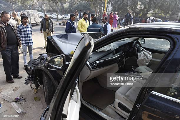 BMW car crashed into a Uber cab near IIT Flyover in South Delhi leaving the cab driver dead The car is now at the Police Station Vasant Vihar on...