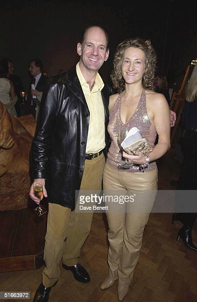 FI car designer Adrian Newey with his wife at the CLIC Charity Auction hosted by Eddie and Marie Jordan at Christie's on 22nd October 2001 in London