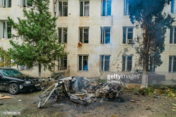 Car destroyed near the administration center of Martuni city after a rocket impact of the Azerbaijan army during the conflict with Nagorno Karabakh...