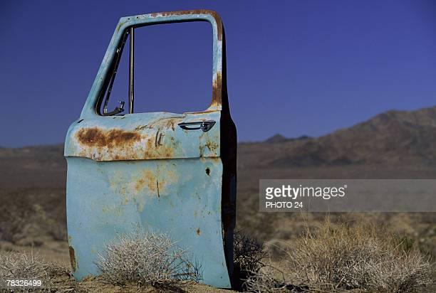 Car door in the desert