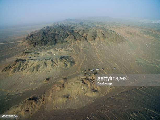 Car drive on Gobi desert/Xinjiang,China.