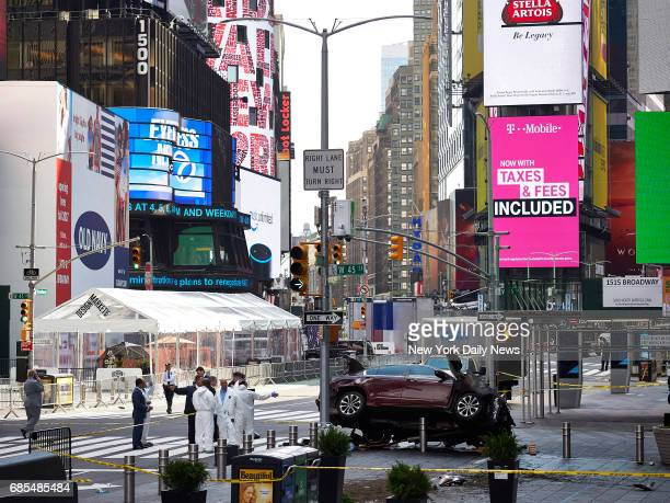 A car driven by Richard Rojas is visible on the corner of 45th and Broadway after the vehicle struck at least 14 pedestrians on a sidewalk in New...