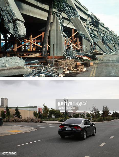 Car drives along Mandela Parkway where the Cypress viaduct of Interstate 880 used to stand on October 15, 2014 in Oakland, California. It has been 25...