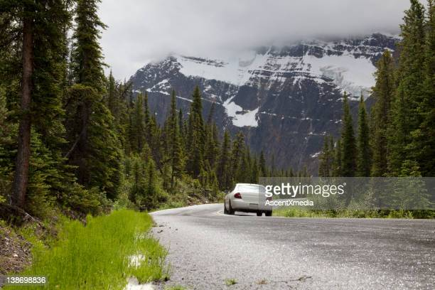 Car drives along winding mountain road, forest