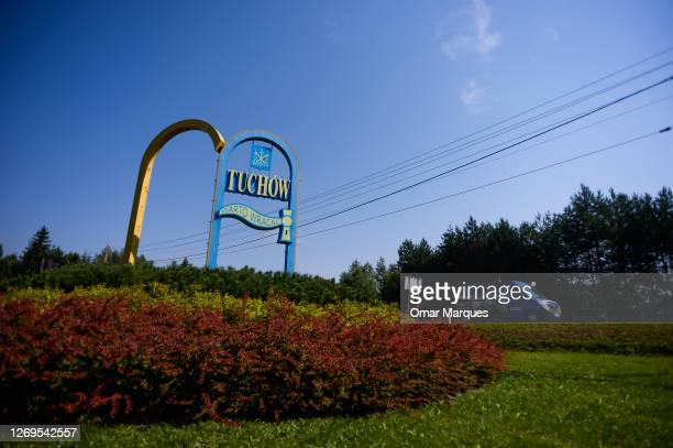 Car drives by an art work with Tuchow town letters, who lost the twin town partnership with the French town Saint-Jean-de-Braye and was sanctioned by...