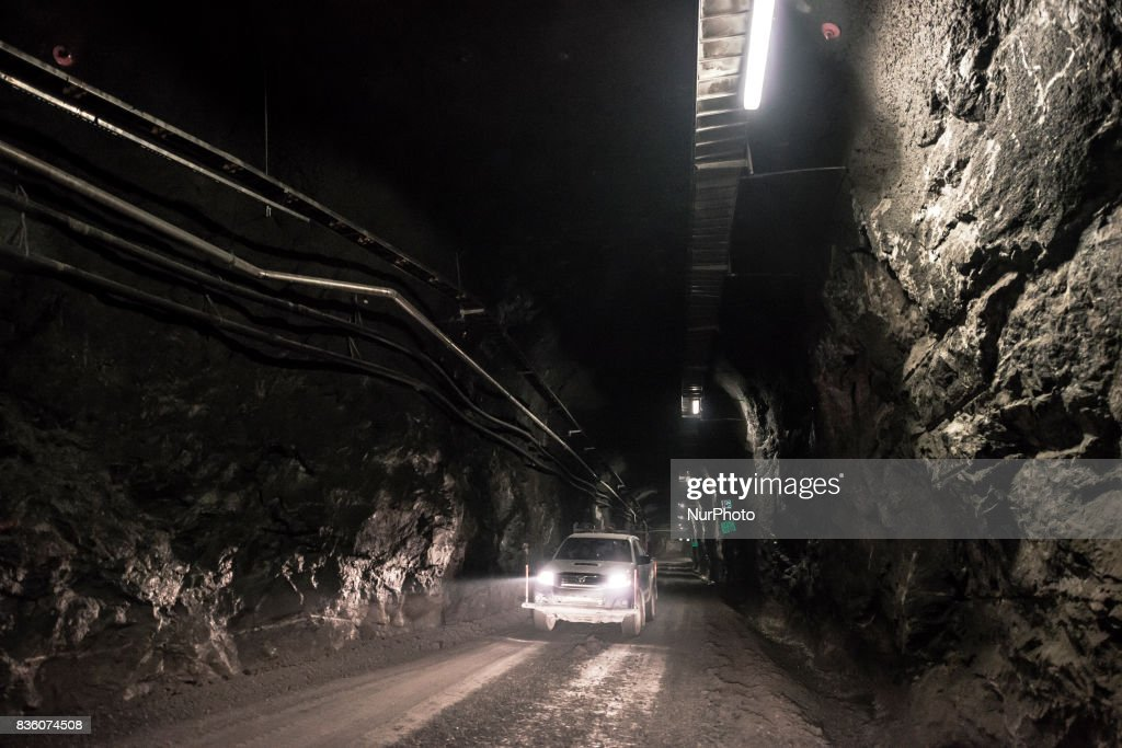 A car drives in the access tunnel of Posiva's spent nuclear fuel repository ONKALO in Olkiluoto, Eurajoki, Finland on 17 August 2017.
