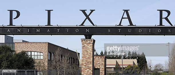 A car drives out of the main gate at Pixar Animation Studios January 19 2006 in Emeryville California The Walt Disney Co is reportedly in talks to...